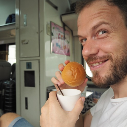 Dave with his mungbean bun...