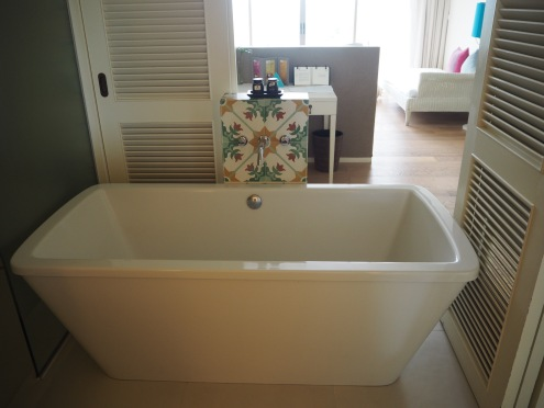 The huge bath tub complete with 2 types of bath salts