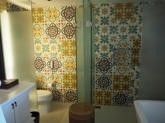 The amazing tiles in the toilet and shower cubicles
