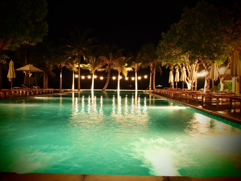 The view from the poolside restaurant