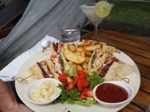 Club sandwich by the pool