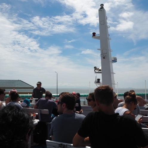 Enjoying the sunshine on the ferry