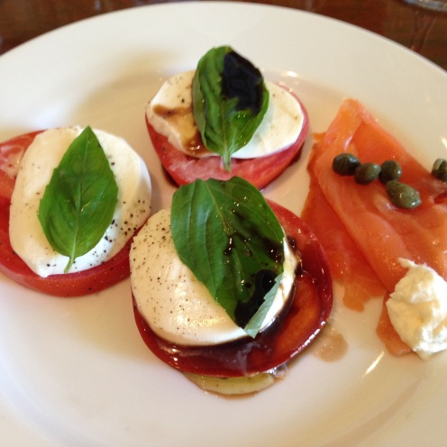 Tomato & Mozzarella salad with a side of smoked Salmon & capers