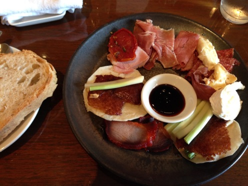 Meat, cheese, bread and duck pancakes!