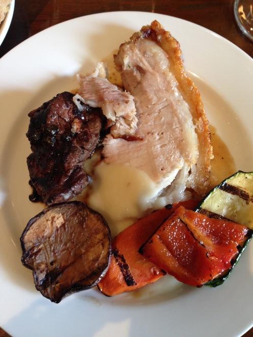 Roast Pork, Beef Tenderloin and roasted vegetables