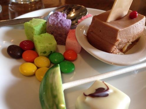M&M's, marshmallows and chocolate banana cake