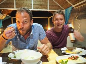 Still enjoying their dinner!