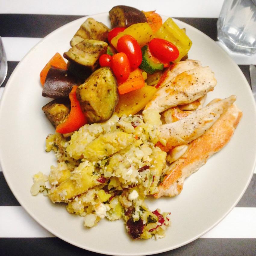 Chicken, smash and veg