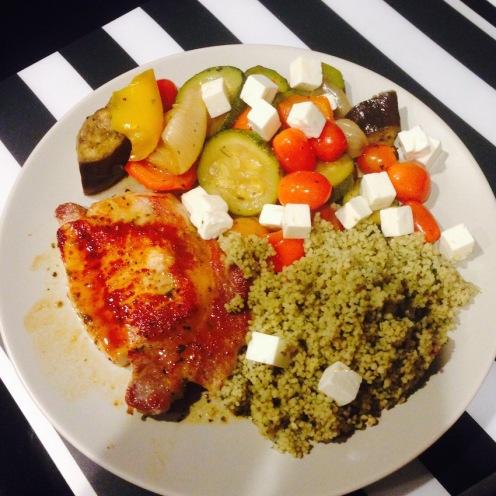 Pork, cous cous, veg and feta