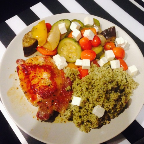 Pork, cous cous, veg and feta