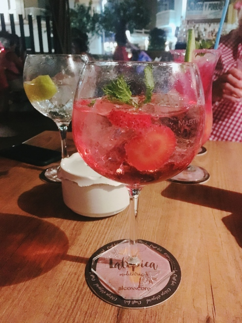 Gin with hibiscus tonic