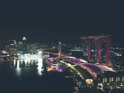 View over the bay and Marina Bay Sands.