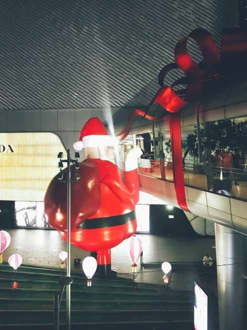Santa trying to sneak into Central Embassy