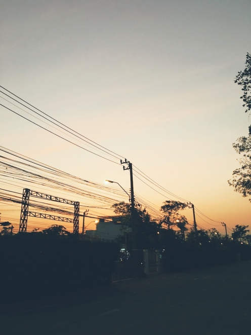 Bangkok street sunset